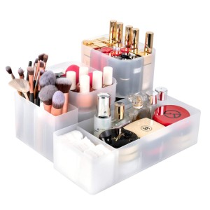 Syntus Makeup Organizer with Different Size - Best Makeup Storage: Storage Box with 5 Detachable Dividers