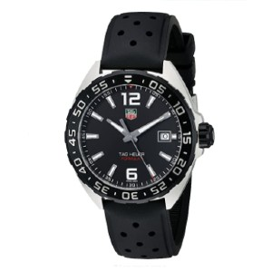 TAG Heuer Swiss Quartz Black Watch - Best Waterproof Watches: Rubber Band with Buckle Closure