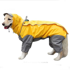 TFENG Dog Raincoat with Removable Hoodie - Best Raincoats for Dogs: Raincoat with The Underneath Triangle Part