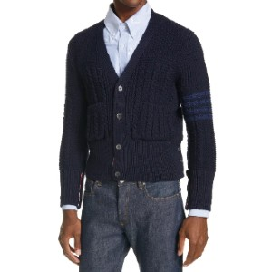 Thom Browne 4-Bar Merino Wool Aran Cardigan - Best Cardigans for Men: V-Neck Merino-Wool Cardigan