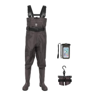 TideWe Bootfoot Chest Wader - Best Waders for Surf Fishing: Comes with waterproof phone case