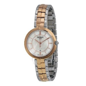 Tissot Flamingo Mother of Pearl Dial Ladies  - Best Formal Watches for Ladies: With a date display