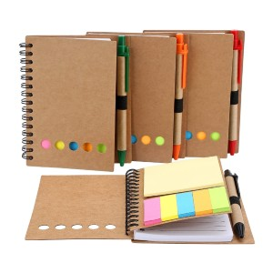 TOODOO Spiral Notebook Lined Notepad with Pen in Holder and Sticky Notes - Best Notebooks for College: For Multiple Usages