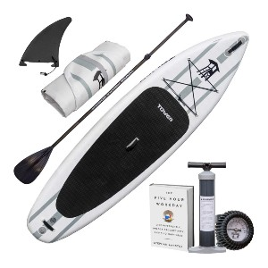 """TOWER Inflatable 10'4"""" Stand Up Paddle Board - Best Paddleboard for Fishing: Excellent large single bottom fin"""