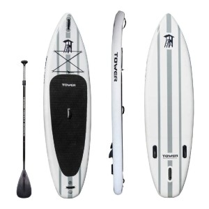 """TOWER Inflatable 10'4"""" Stand Up Paddle Board  - Best Paddle Boards for Lakes: Inflatable Paddle Board with a Large Single Bottom Fin"""