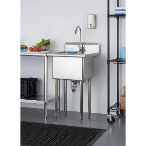 TRINITY Basics Stainless Steel w/Faucet Utility Sink - Best Laundry Room Sinks: Sink with Raised Ribbed Area