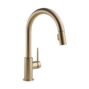 Delta Faucet TRINSIC 9159-CZ-DST - Best Pull Down Faucets: Soft, Rubber Touch-Clean Spray Holes