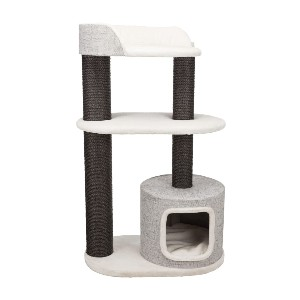 Trixie Cara Gray Cat Tower for Large Cats - Best Cat Tree for Senior Cats: Three-Level Cat Tree