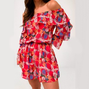 Missguided Tall Pink Floral Bardot Ruffle Romper - Best Romper for Long Torso: Give more volume
