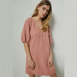 Anthropologie Taylor Puff-Sleeved Tunic Dress  - Best Loungewear for Petites: Best for tunic lovers