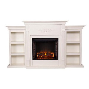 Southern Enterprises Tennyson Media Electric Fireplace Mantel Package  - Best Electric Fireplace with Mantel: Best for readers