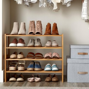 The Container Store 2-Tier Bamboo Stackable Shoe Shelf - Best Shoe Racks for Small Spaces: Stackable Bamboo Rack