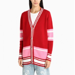 The Double F GOLDEN GOOSE DELUXE BRAND - Best Cardigans for Petites: V Neck and Frontal Buttons Multi-Color Cardigan
