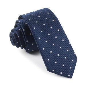 OTAA Navy Blue with White Polka Dots Skinny Tie  - Best Ties for Lawyers: A timeless classic