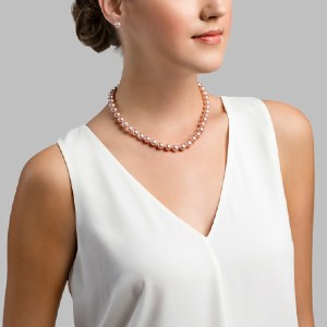 The Pearl Source Pink Freshwater Pearl Necklace - Best Pearl Necklace: Pink Pearl + 14K Gold Clasp Affix Necklace