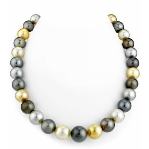 The Pearl Source Tahitian & Golden South Sea Multicolor Pearl Necklace - Best Pearl Necklace: Multicolor Elegant Necklace