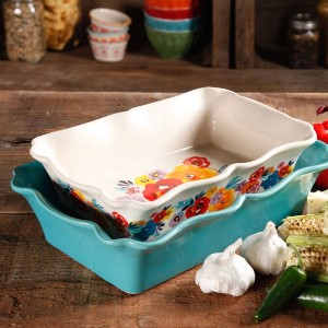 The Pioneer Woman Rectangular Ruffle Top - Best Ceramic Baking Dishes: Colorful Floral Design On The Inside and Outside