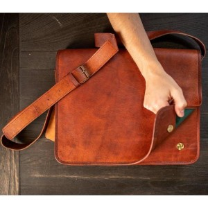 The Real Leather Company The Messenger - Best Leather Satchel: Lighter-Colored Leather Satchel