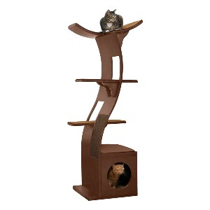 The Refined Feline Lotus Cat Tower Furniture - Best Cat Tree for Multiple Cats: Modern Cat Tree