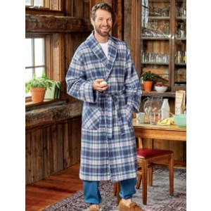 The Vermont Country Store Men's Portuguese Flannel Wrap Robe - Best Robes for Men: Stylish Plaid Flannel Robe