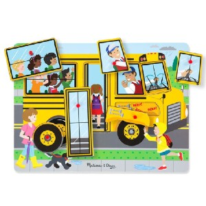 Melissa and Doug The Wheels on the Bus Sound Puzzle - Best Wooden Puzzles for Toddlers: Song Lyrics Included on Wooden Puzzle Board