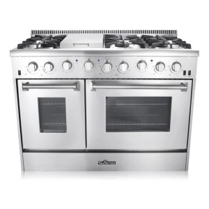 Thor Kitchen HRG4808U 48 in. Professional Style Gas Range  - Best Commercial Ranges for Restaurants: Prevents any gas leaks