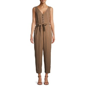 Time and Tru Women's Sleeveless Linen Jumpsuit with Tie Belt - Best Casual Jumpsuit: Best for budget