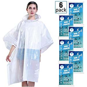 Timoch Disposable Rain Ponchos for Adults (6 Pack)  - Best Raincoats for Disney: No more hot, no more cold
