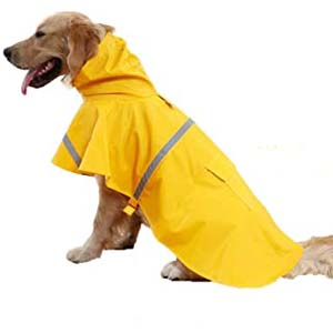Tineer Pet Dog Hooded Raincoat - Best Raincoats for Big Dogs: Flattering and functional