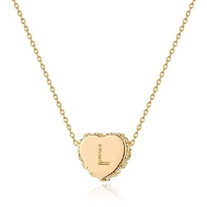 Fettero Tiny Gold Initial Heart Necklace - Best Jewelry for Teenage Girl: A heart with her initial