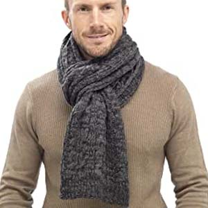 Tom Franks Mens Chunky Cable Knit Scarf - Best Scarves for Winter: Perfect for gift