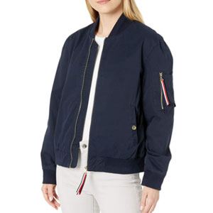 Tommy Hilfiger Women's Flag Bomber Jacket Varsity Jacket - Best Jacket for Summer: Bomber jacket for women