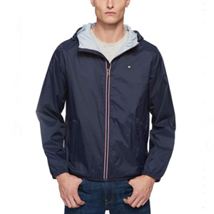 Tommy Hilfiger Men's Lightweight Active Water Resistant Hooded Rain Jacket - Best Raincoats for Travel: Super zipper closure secured rain jacket