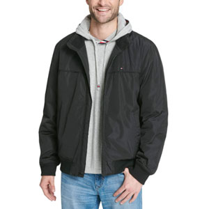 Tommy Hilfiger Men's Performance Faux Memory Bomber - Best Jacket for Summer: Water and wind-resistant bomber jacket