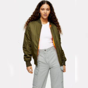 Top Shop Khaki Oversized Bomber Jacket - Best Jacket for Summer: Bomber jacket for fashionable look