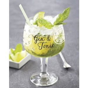 Tradestock Set of 2 Large Decorated Copa Gin & Tonic - Best Glass for Gin and Tonic: Perfect Large Size for Holding Lots of Gin with Plenty of Ice