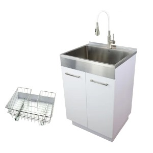 Transolid Free Standing Laundry Sink with Faucet - Best Laundry Room Sinks: Cabinet with Sink