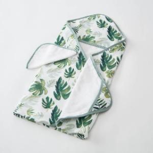 Little Unicorn Tropical Leaf - Best Bath Towels for Baby: Printed Pockets for Hands