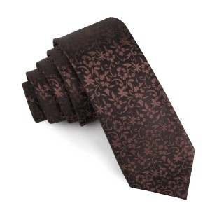 OTAA  Truffle Brown Floral Skinny Tie  - Best Ties for Charcoal Suit: Bold yet appealing