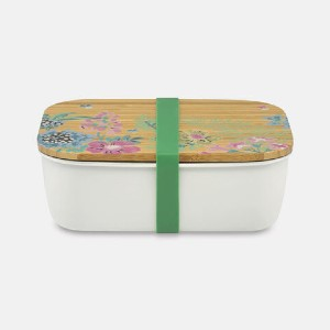 Cath Kidston Twilight Garden Stainless Steel Lunch Box - Best Lunch Boxes for Adults: Printed Bamboo Lid