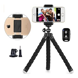 UBeesize Portable and Adjustable Camera Stand Holder - Best Portable Tripods for Smartphone: Operate remotely