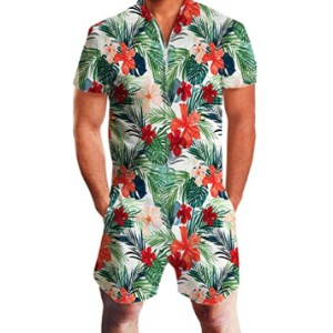UNIFACO Men's Printed One Piece Zipper Rompers  - Best Men's Romper: Best for budget