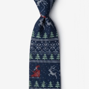 Ties Ugly Christmas Sweater Navy Blue Tie - Best Tie for Brown Suit: For your holiday needs