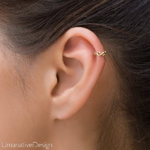 Umanativedesign Gold Helix Piercing - Best Helix Earrings: Gothic Helix Piercing