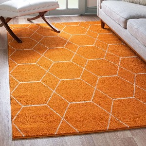 Unique Loom Trellis Frieze Collection Lattice Moroccan Geometric - Best Rug for Queen Size Bed: Durable and stylish
