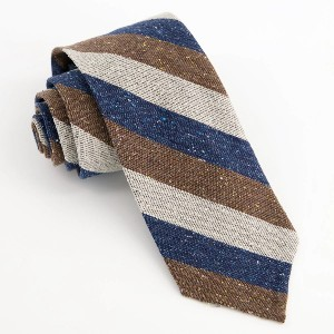 Tie Bar Unlined Textured Stripe Navy Tie - Best Ties for Grey Suit: Light and airy