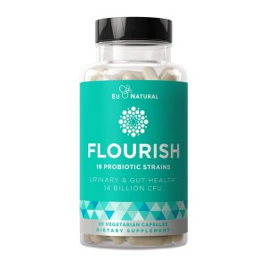 Eu Natural FLOURISH Probiotics Gut & Digestive Health - Best Probiotics for Vaginal Health: Provides Immediate Urinary, Gut, and Digestive Support