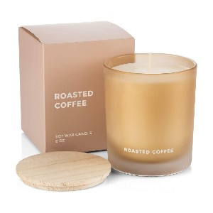 VENTA Roasted Coffee Natural Say Wax - Best Coffee Scented Candles: Glass Jar and Wooden Lid Scented Candle