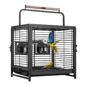 VIVOHOME 19 Inch Wrought Iron Bird Travel Carrier Cage - Best Bird Cages for Conures: Great for single conure