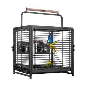 VIVOHOME 19 Inch Wrought Iron Bird Travel Carrier Cage - Best Bird Cage for Lovebirds: Designed for travel